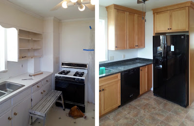 Kitchen before and after, remodeled kitchen, factory-made cabinets with custom molding