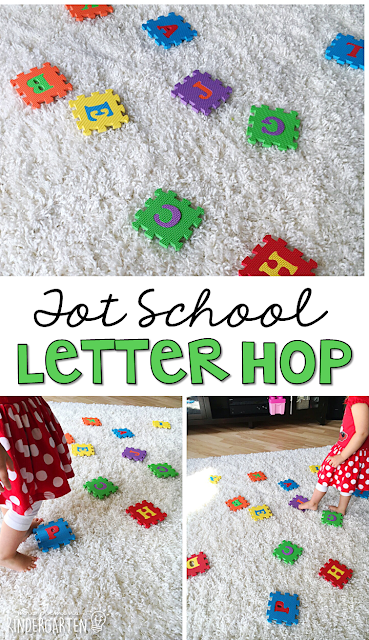 Learning is more fun when it involves movement! Learn letters and sounds with this Chicka Chicka Boom Boom Letter Hop. Great for tot school, preschool, or even kindergarten!