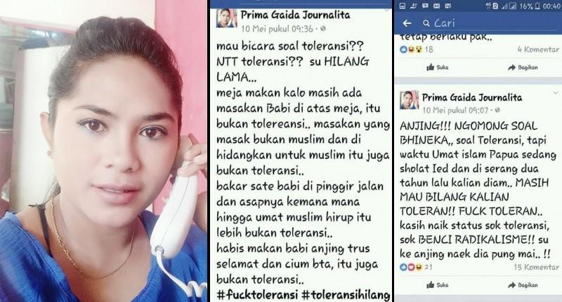 Status FB Prima Gaida Journalita yang menghina warga NTT