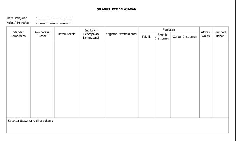 Download Contoh Format Silabus Pembelajaran Semester 2 untukAdministrasi Guru SD/MI-SMP/MTs-SMA/SMK/MA