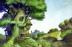 tree fantasy treehouse houses painting fairy cartoon digital drawing tale hd whimsical desktop gingerbread magical abstract trees background treehouses wallpapers