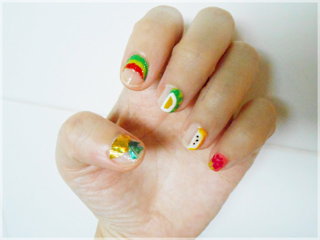 Summer negative space fruit nail art design using product from Withshyan