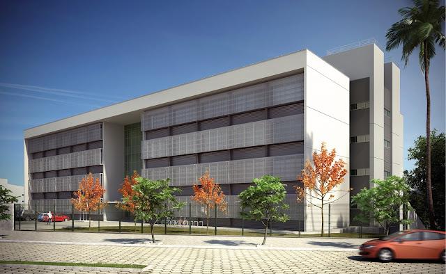 Fachada do projeto do prédio que será construído em Itajubá (MG) e Três Corações (MG). (Foto: Dengep/TJMG)