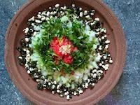Ash gourd, Snake gourd,  Black gram sprouts,  BSD (Tomato, Coriander, Coconut),  Ginger