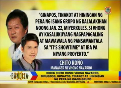 Chito Rono's statement for Vhong Navarro