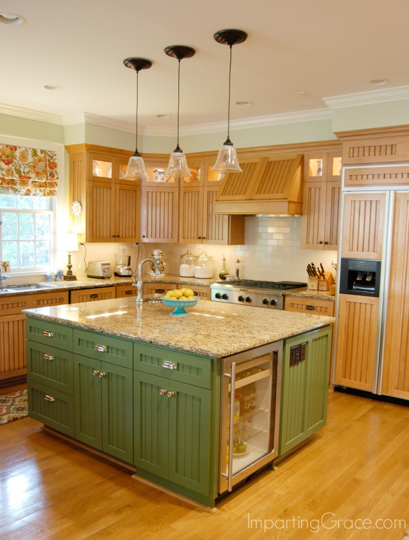 green kitchen island imparting grace kitchen island makeover 11962