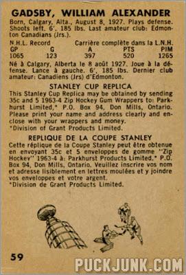 1963-64 Parkhurst #59 - Bill Gadsby