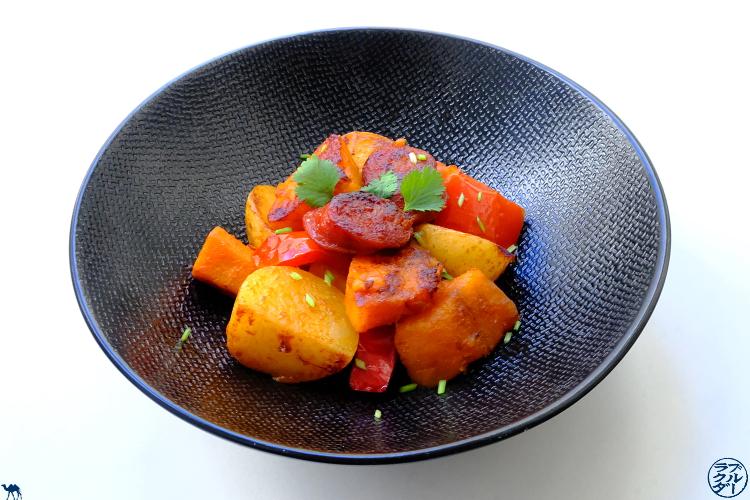 Le Chameau Bleu - Blog Cuisine et Voyage - Recette d'une poêlée espagnole au Chorizo et Potimarron