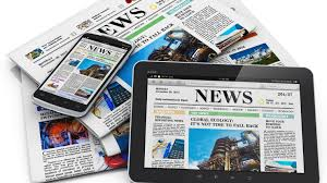 Newspapers and headlines in print and on E-tablet