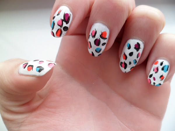 Multicoloured Animal Print Nail Art