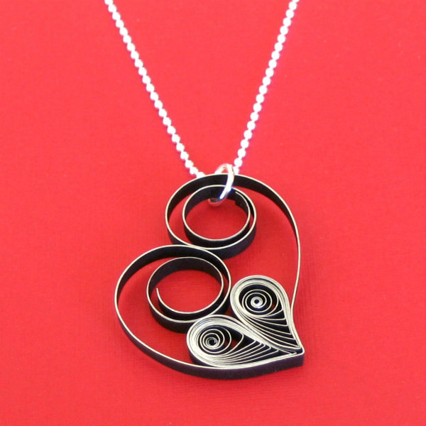 Quilled Asymmetric Heart Pendant on silver chain