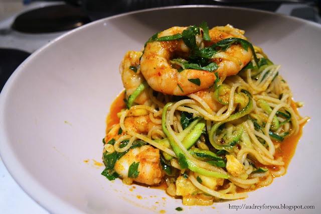 Cajun Shrimp Garlic Butter Zucchini Noodles Pasta Recipe