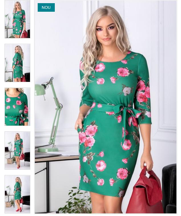 Rochie ieftina eleganta verde office imprimeu floral roz croi conic