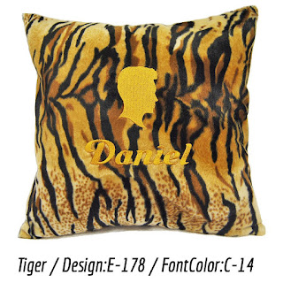 Personalized cushion with tiger print faux fur