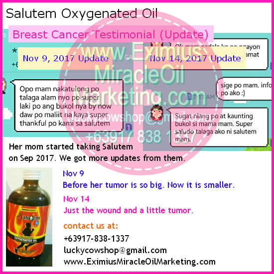 salutem oxygenated oil breast cancer updates review testimonial