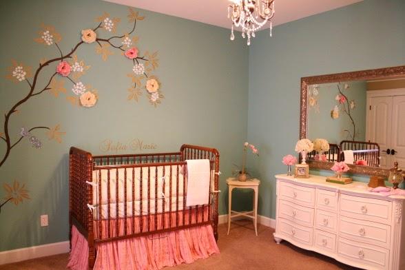 Habitación bebé rosa gris
