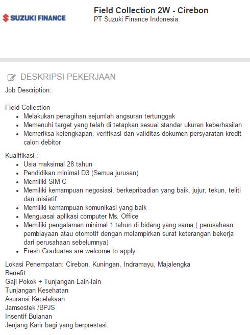 Loker Cirebon Terbaru - Lowongan Kerja PT Suzuki Finance Indonesia 2019
