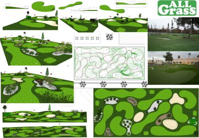 putting course de césped artificial especial para golf