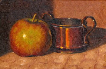 Oil painting of a Pink Lady apple beside a small copper pot.