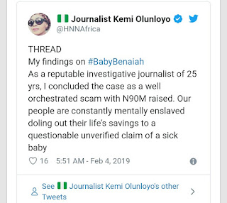 Nigerian journalist reveals that the story of the sick baby is fake
