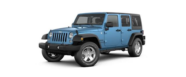 Blue Jeep Wrangler 2017
