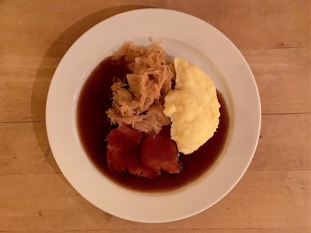 kasseler ham,mash and sauerkraut