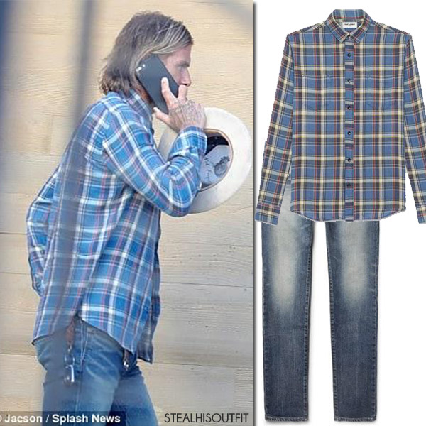 David Beckham in blue plaid shirt and washed denim jeans who made it where to buy august 2017