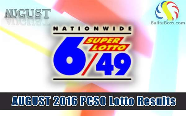 August 2016 SuperLotto 6/49 PCSO Lotto