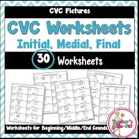 CVC Worksheets for beginning, middle, and end sounds
