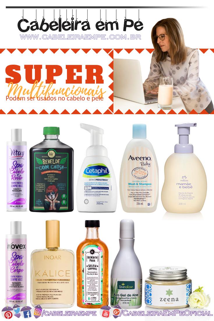 Multifuncionais para cabelo e pele das marcas Embelleze, Lola, Cetaphil, Aveeno, Natura, Inoar, Live Aloe e Zeena