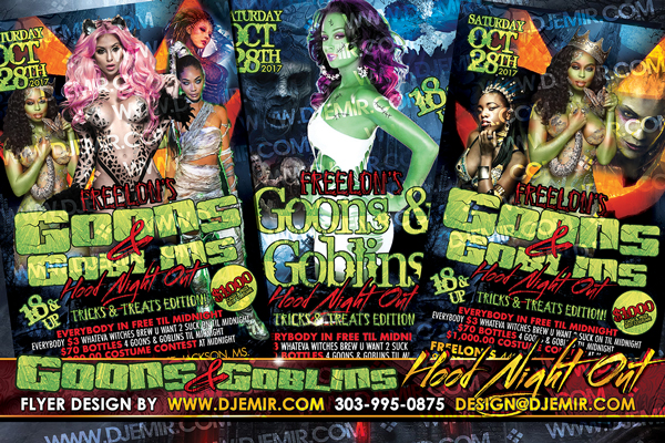 Goons And Goblins Hood Night Out Tricks And Treats Edition Halloween Flyer Design