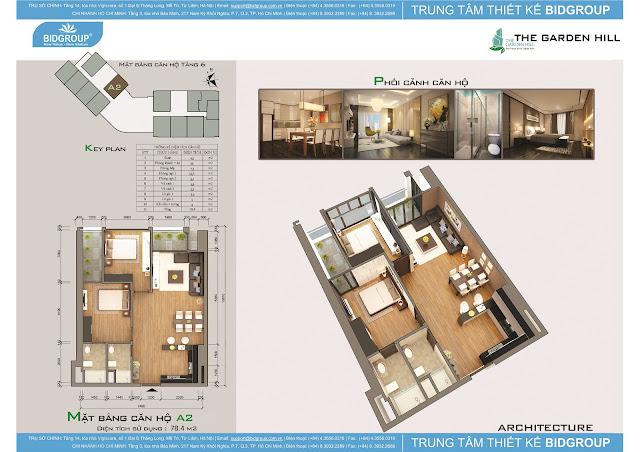 Căn hộ A2 tầng 6, diện tích 78m2