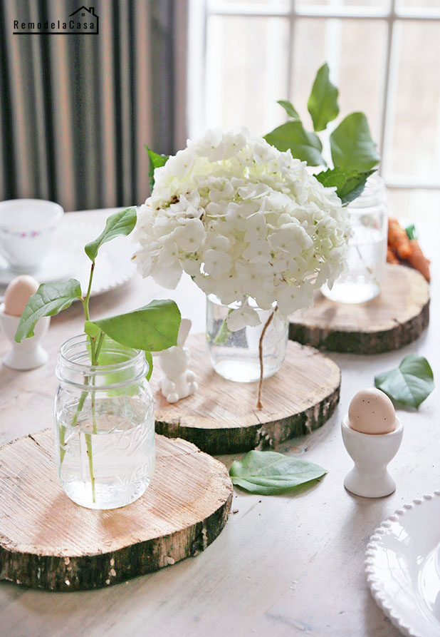 Mason jars with white hydrangeas for Easter table #thdprospective