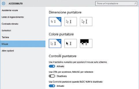 Impostazioni accessibilità Windows 10 per il mouse