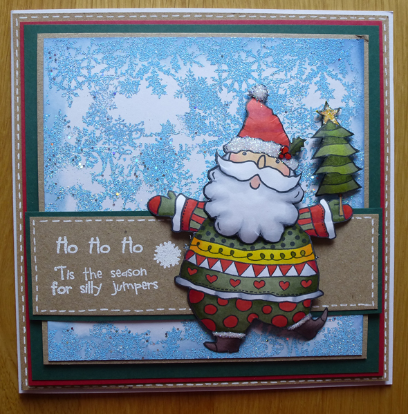 Ho Ho Ho Santa Card using Woodware Stamps