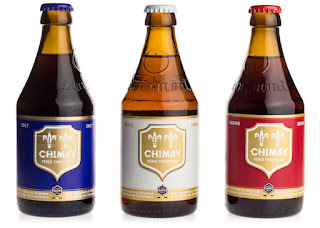 Bottles of Chimay Blue, White and Red beer