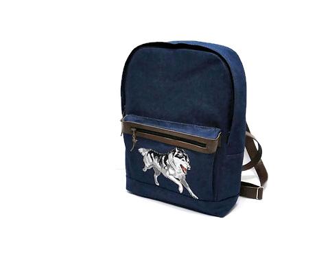 Джинсовый рюкзак с собакой Хаски - городской рюкзак женский