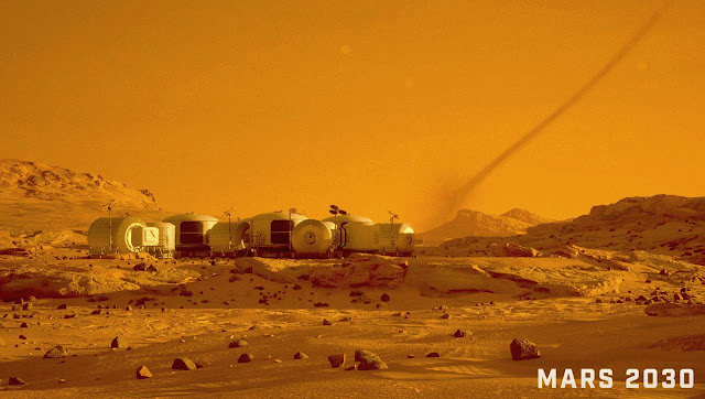 Mars 2030 VR image - dust devil near base