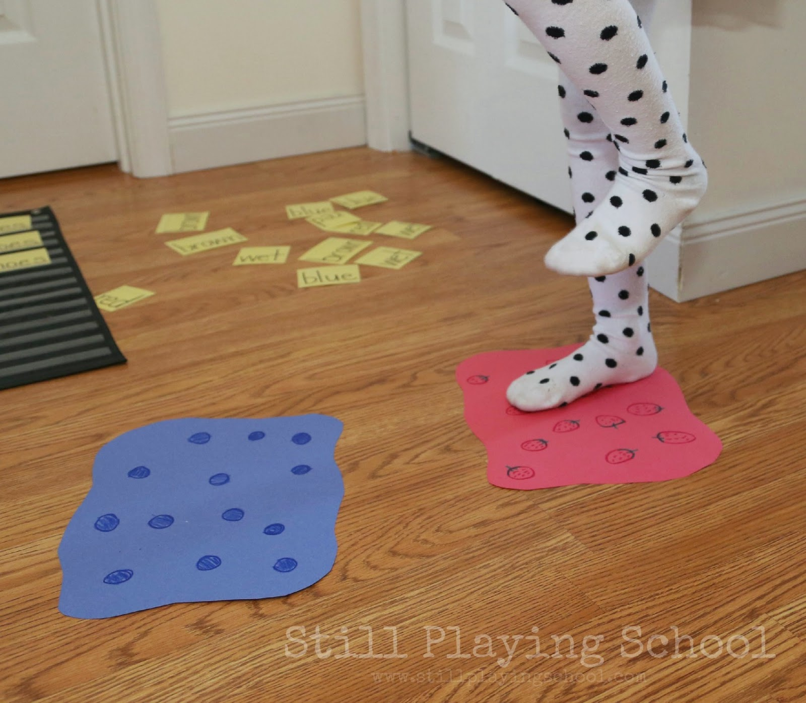 Pete the Cat Inspired Reading and Gross Motor Game  Still Playing