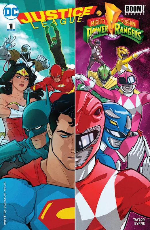 Justice League/Power Rangers #1, Story: Tom Taylor Art: Stephen Byrne Letter: Deron Bennett Cover: Karl Kerschl Variants: Chris Sprouse, Karl Story, Carrie Strachan, Marcus To, Wendy Broome, Dan Hipp, Yasmine Putri, Marguerite Sauvage, Dustin Nguyen  Justice League of America created by Gardner Fox. Mighty Morphin Power Rangers created by Haim Saban, Shuki Levy. Kyōryū Sentai Zyuranger by Toei and Bandai.