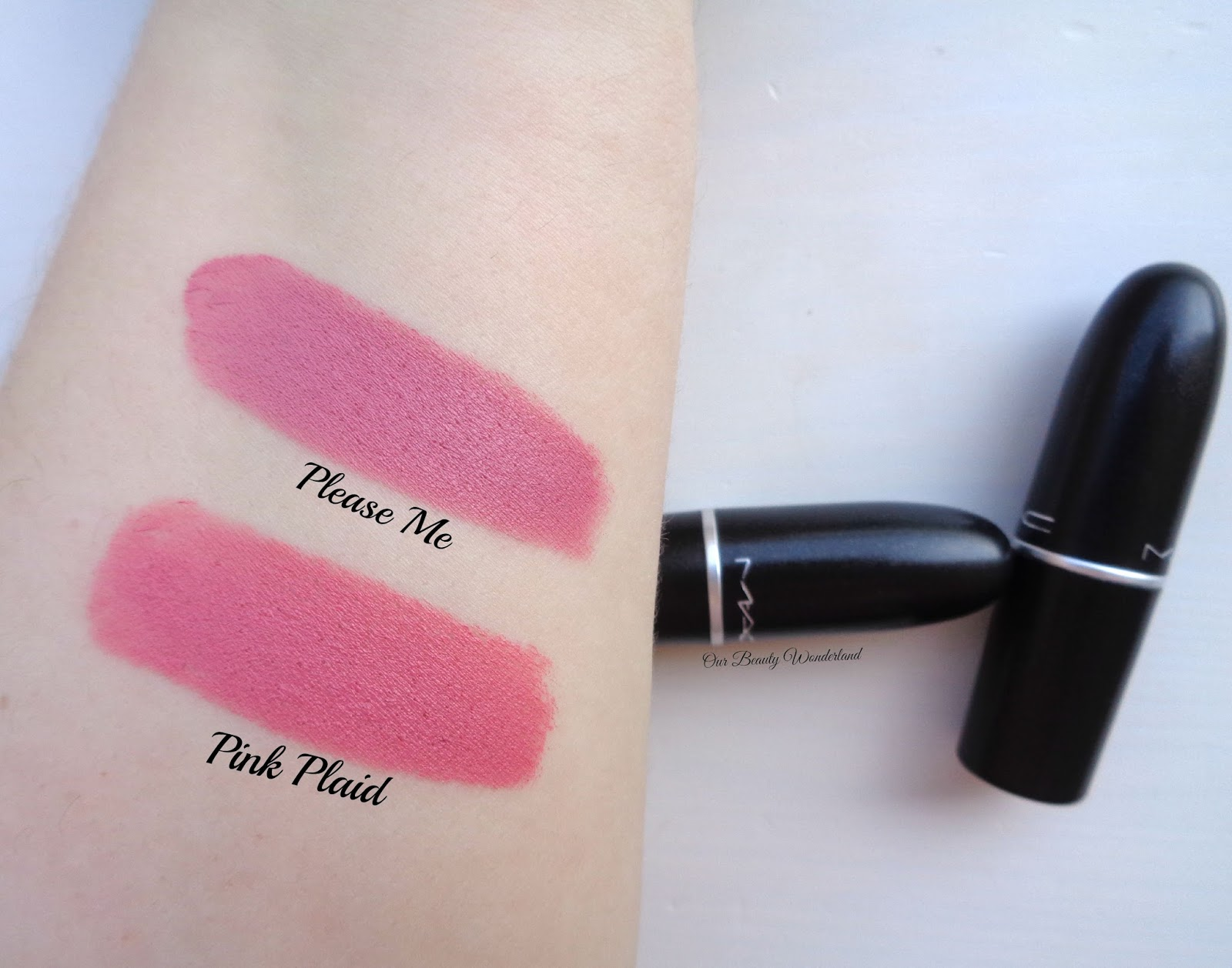 AshleyLauraBeauty: MAC Lipstick Collection & Swatches  Mac Pink Plaid Vs Please Me