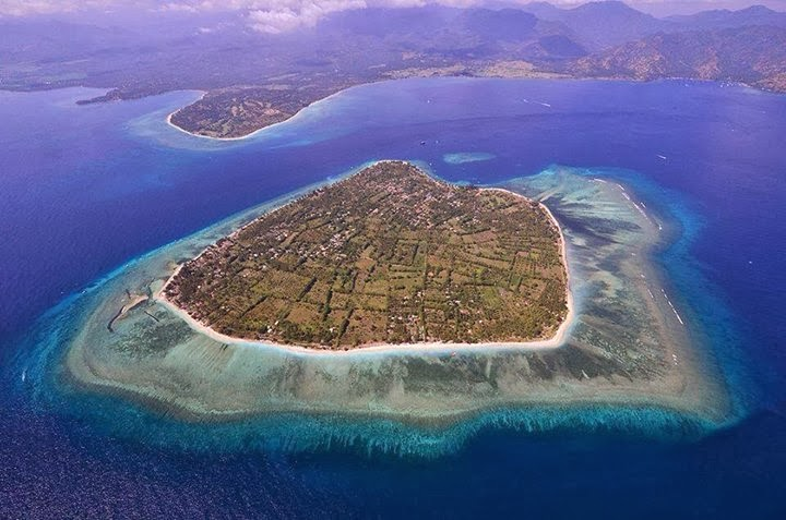 Areal shot of Gili Air in Indonesia
