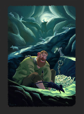 Digital illustration of a prisoner with shackles in a cave being rescued by mice.