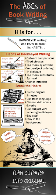 Infographic for Weekly Blog Series on Book Writing and Publishing:  H is for HACKNEYED writing