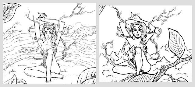 Poison Ivy: le crayonné versus le dessin du inktober