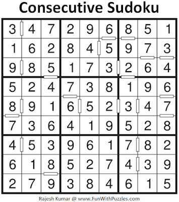 Answer of Consecutive Sudoku Puzzle (Fun With Sudoku #382)