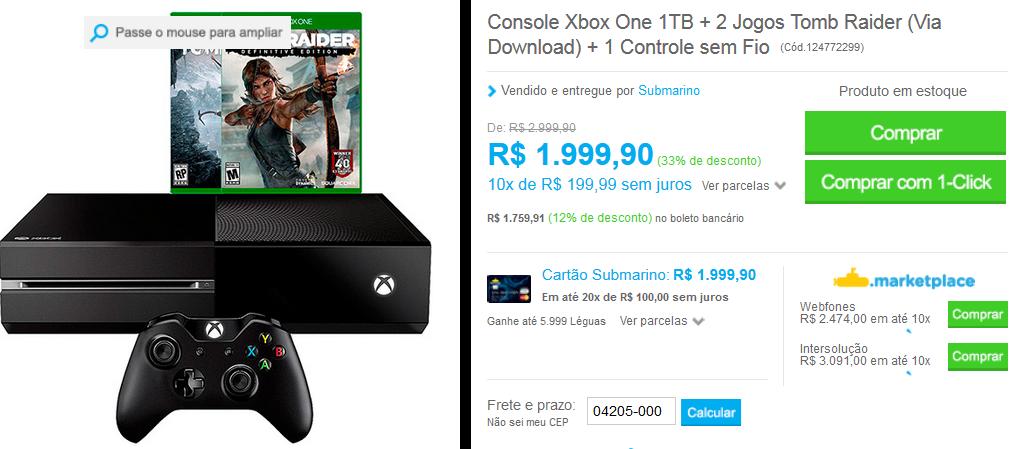 www.submarino.com.br/produto/124772299/console-xbox-one-1tb-2-jogos-tomb-raider-via-download-1-controle-sem-fio?opn=comparadoressub&franq=AFL-03-117316