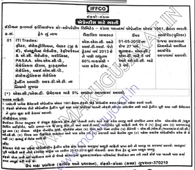 Apprentice Jobs Recuitment   IFFCO - Kandla, Kutch - Gujarat Rojgaar News