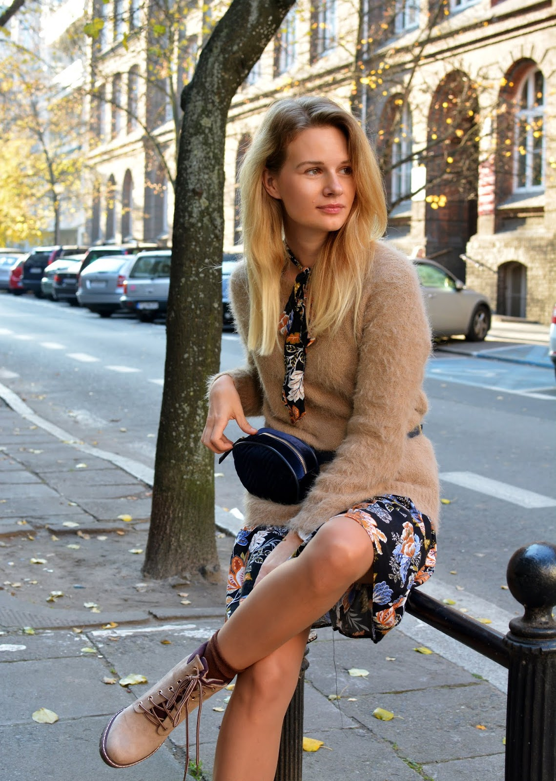 Floral Dress + Beige Sweater