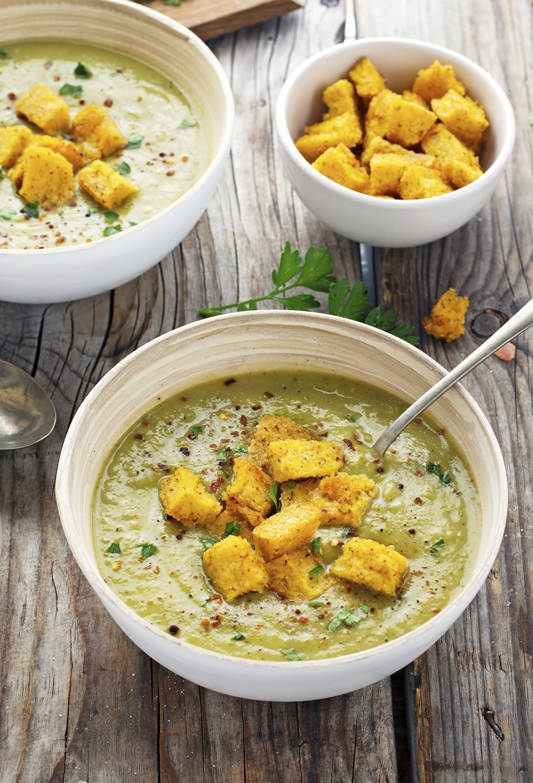 Green Machine Soup with Polenta Croutons